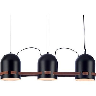 Τρίφωτο κρεμαστό με καμπάνες Ø16cm και δερμάτινη καφέ ζώνη