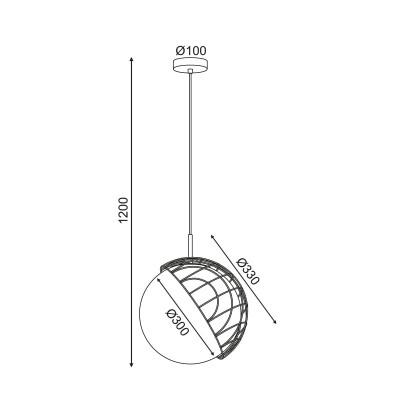 Κρεμαστή γυάλινη μπάλα με δίχτυ από ρατάν Ø33cm