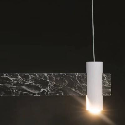 Κρεμαστό φωτιστικό από μαύρο μάρμαρο με λάμπα GU10 και πηγή LED