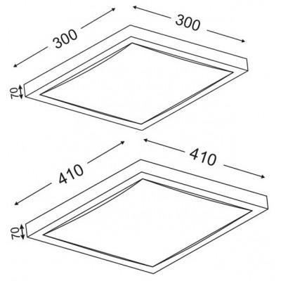 Τετράγωνο φωτιστικό ασημί λευκό ACA