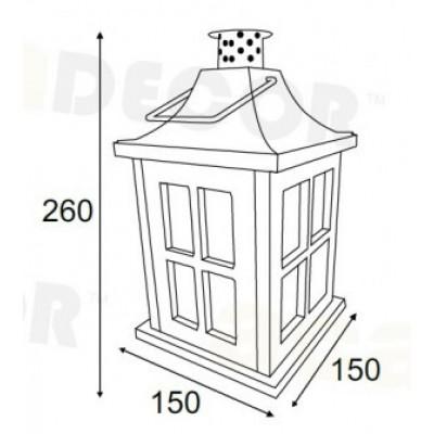 Πορτατίφ 26cm ξύλινο φανάρι LED με μπαταρίες