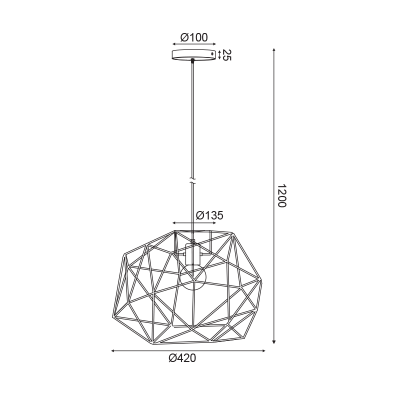 Ασύμμετρο κρεμαστό φωτιστικό Ø42cm με μεταλλικό πλέγμα και ύφασμα