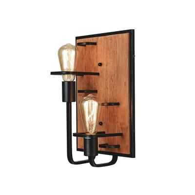 Επίτοιχο φωτιστικό δίφωτο από ξύλο 25x36cm