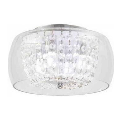 Φωτιστικό οροφής με κρύσταλλα και διάφανο γυάλινο κάλυμμα
