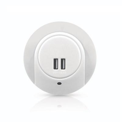 Φωτάκι νυκτός LED με δύο θύρες USB με διακόπτη