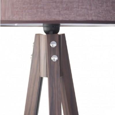 Ξύλινο τρίποδο δαπέδου με καφέ αμπαζούρ Ø40cm