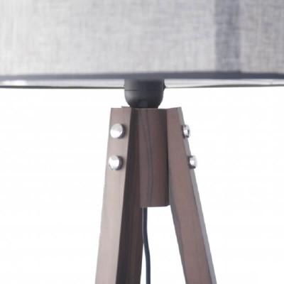 Ξύλινο τρίποδο δαπέδου με γκρι αμπαζούρ Ø40cm