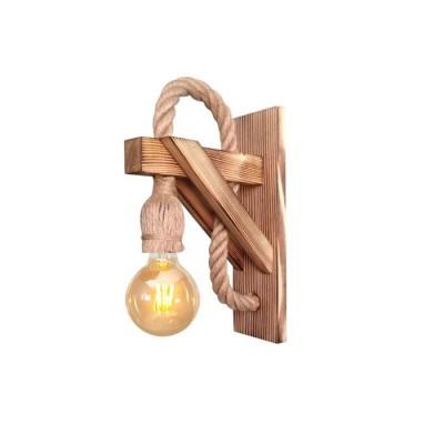 Φωτιστικό τοίχου 17x20cm από ξύλο και σχοινί
