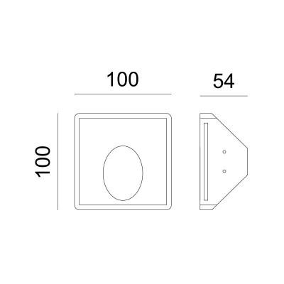 Γύψινο χωνευτό σποτ τετράγωνο 10x10cm MR11