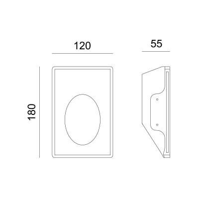 Κάθετο χωνευτό σποτ τοίχου 18x12cm γύψινο LED