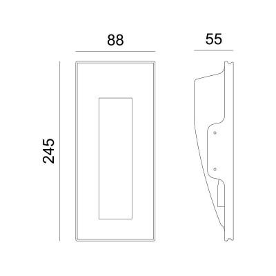 Κάθετο χωνευτό σποτ τοίχου γύψινο 24.5x8.8cm MR11