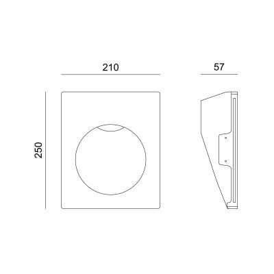 Γύψινο χωνευτό σποτ τοίχου 25x21cm GU10