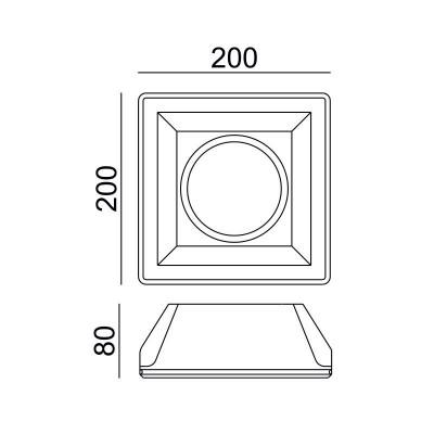 Χωνευτό γύψινο σποτ τετράγωνο 20x20cm για λάμπα AR111
