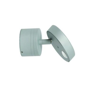 Στεγανή ασημί απλίκα LED με κινητή κεφαλή και φακό ειδικού οπτικού εφέ