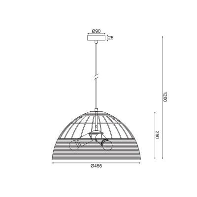 Τρίφωτο κρεμαστό με καμπάνα από ρατάν Ø46cm