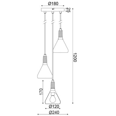Κρεμαστό φωτιστικό τρίφωτο Φ24cm λευκό με ξύλο