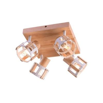 Τετράφωτο φωτιστικό οροφής ξύλινο 24x24cm