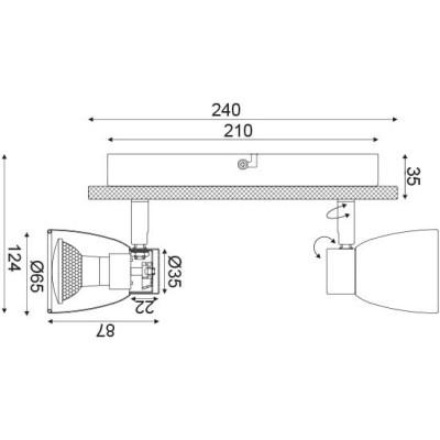 Διπλό σποτ με ξύλινη βάση ACA