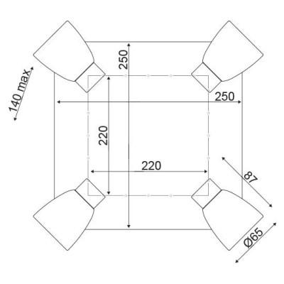 Τετράγωνη ξύλινη ροζέτα με σποτ ACA