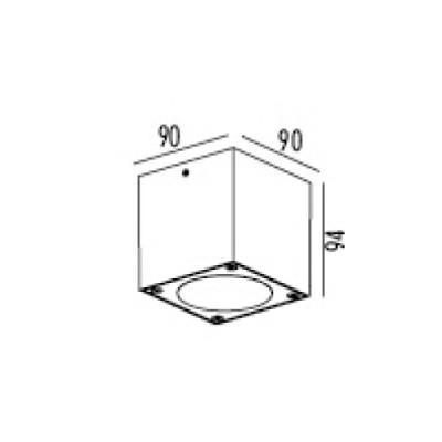 Στεγανό σποτ οροφής LED κύβος 9x9cm