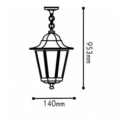 Vintage κρεμαστό φωτιστικό Ø14cm αλουμινένιο φανάρι εξάγωνο