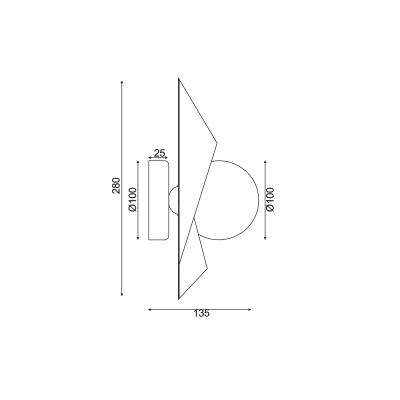 Μοντέρνα πολυγωνική απλίκα χρυσαφί με γυάλινο λευκό γλόμπο
