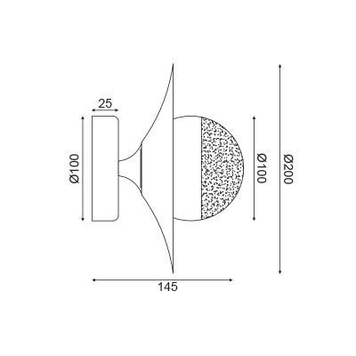 Χάλκινη απλίκα φλατ Ø20cm με γυάλινο γλόμπο