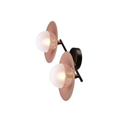 Δίφωτο φωτιστικό 47cm με χάλκινα πιάτα και γυάλινους γλόμπους