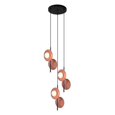 Εξάφωτη ροζέτα με γυάλινους γλόμπους σε χάλκινα πιάτα