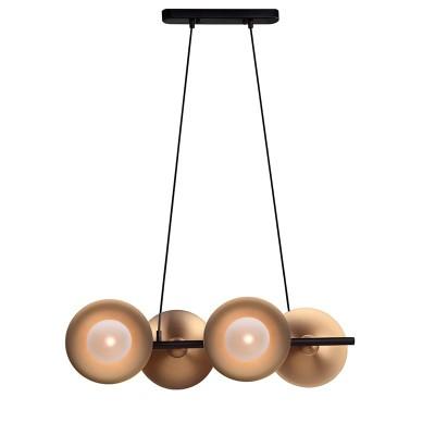 Τετράφωτο κρεμαστό 68cm με χρυσαφί πιάτα και γυάλινους γλόμπους