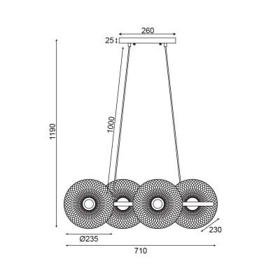 Κρεμαστό φωτιστικό μήκους 71cm με 4 πιάτα από μεταλλικό πλέγμα