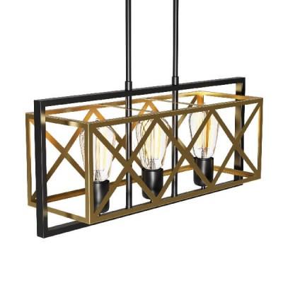 Τρίφωτο φωτιστικό ημιοροφής 58x20x68cm μαύρο-χρυσό
