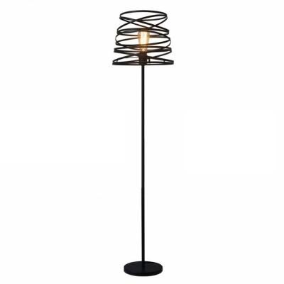 Μαύρο φωτιστικό δαπέδου με καπέλο σπιράλ Ø40cm ACA