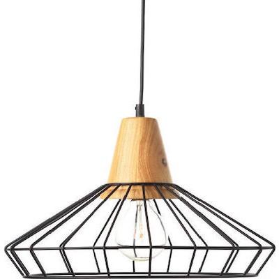 Κρεμαστό φωτιστικό Ø40cm με ξύλινη λεπτομέρεια και πλέγμα