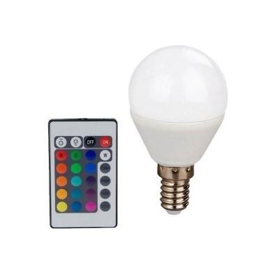 Λάμπα LED RGB-3000K E14 γλομπάκι με τηλεχειριστήριο