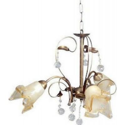 Τρίφωτο κρεμαστό φωτιστικό Ø60cm με γυάλινα λουλούδια και κρύσταλλα