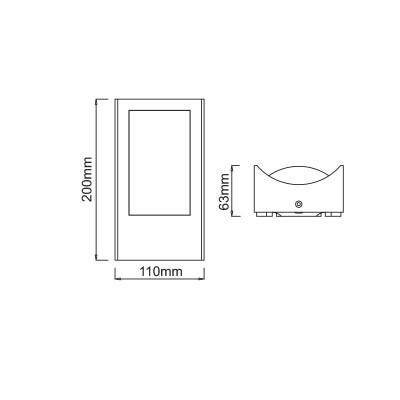 Στεγανή απλίκα αλουμινίου LED 20x11cm