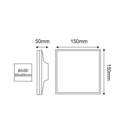 Τετράγωνη στεγανή απλίκα LED 15x15cm ανθρακί