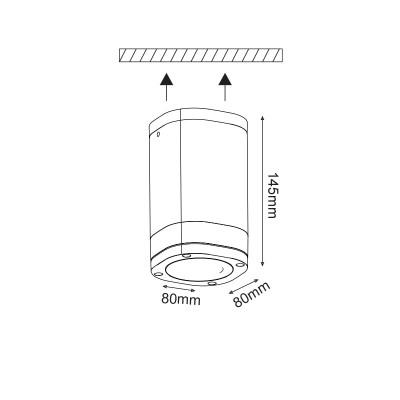 Μεταλλικό κυλινδράκι οροφής GU10 στεγανό