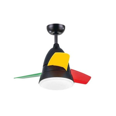 Πολύχρωμος PVC παιδικός ανεμιστήρας οροφής Ø90cm LED