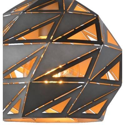 Γκρι κρεμαστό φωτιστικό Ø25cm διάτρηση με τρίγωνα