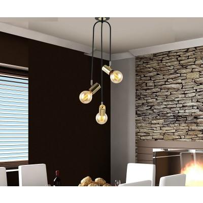 Φωτιστικό οροφής τρίφωτο 30x75cm με χρυσαφί λεπτομέρειες