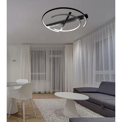 Μοντέρνο μαύρο φωτιστικό οροφής Ø70cm μεταλλικό LED