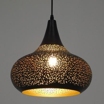 Μοντέρνο κρεμαστό φωτιστικό μονόφωτο μαύρο με χρυσό μεταλλικό καμπάνα Φ30cm