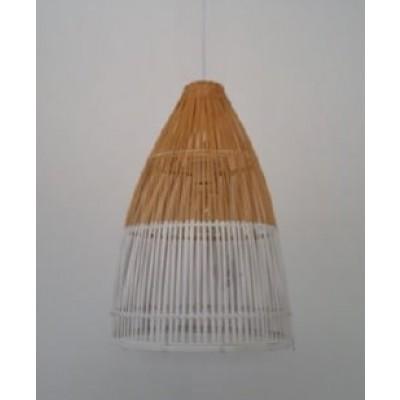 Κρεμαστό φωτιστικό μπαμπού δίχρωμο σε φυσική απόχρωση και λευκό