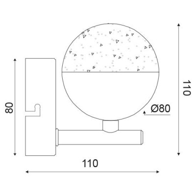 Απλίκα LED 11x11cm με γυάλινο κρυσταλιζέ γλόμπο Ø8cm