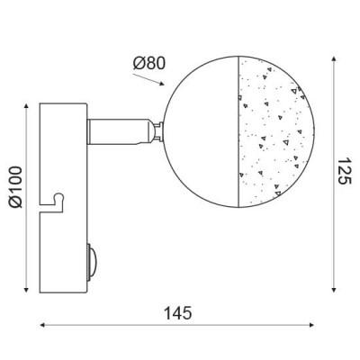 Απλίκα LED με σπαστή κεφαλή Ø8cm και διακόπτη On/Off