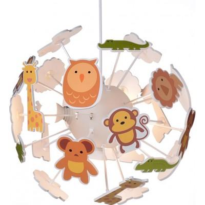 Τετράφωτο παιδικό φωτιστικό κρεμαστό με ζώα Ø35cm