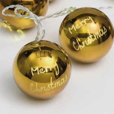 Χρυσαφί μπάλες merry christmas σε διάφανο καλώδιο 135cm με μπαταρίες