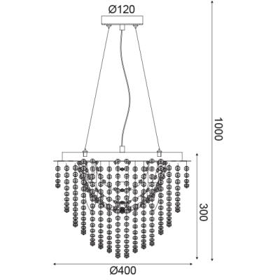 Τετράφωτο κρεμαστό MISSY με κρυστάλλινη διακόσμηση ACA